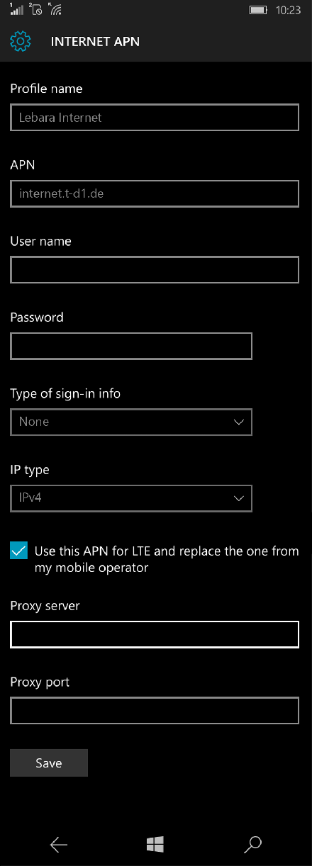 Lebara Internet APN settings for Windows 10 screenshot