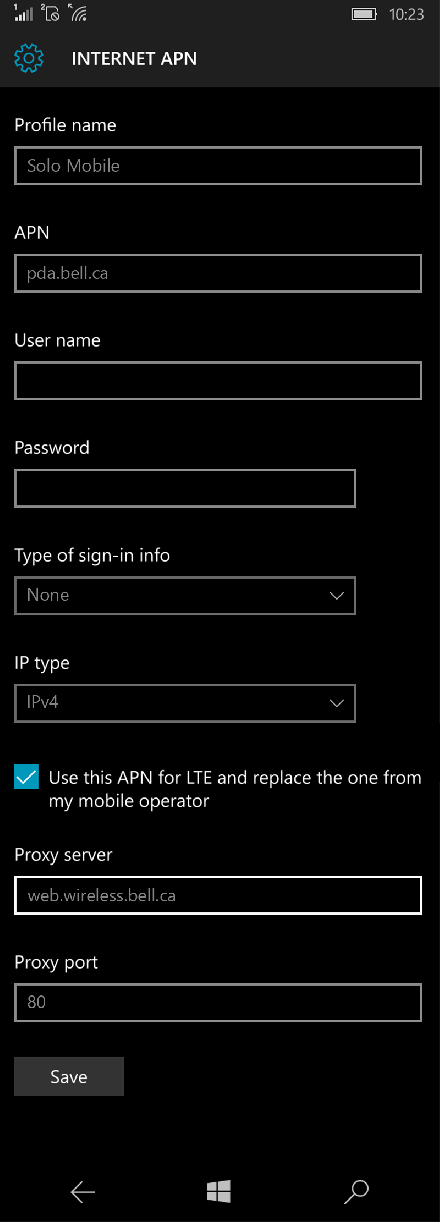 Solo Mobile  APN settings for Windows 10 screenshot