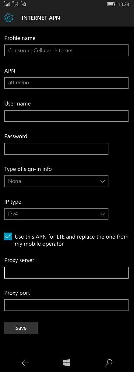 Consumer Cellular  Internet APN settings for Windows 10 screenshot