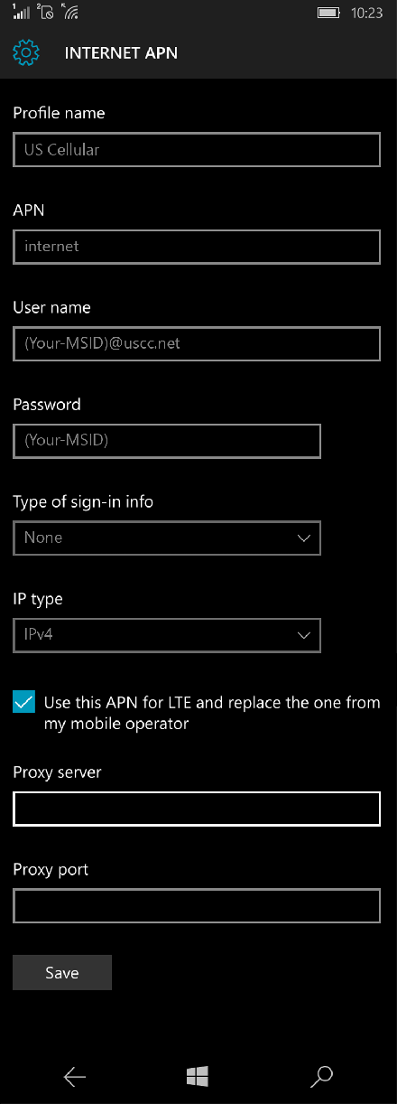 US Cellular  APN settings for Windows 10 screenshot