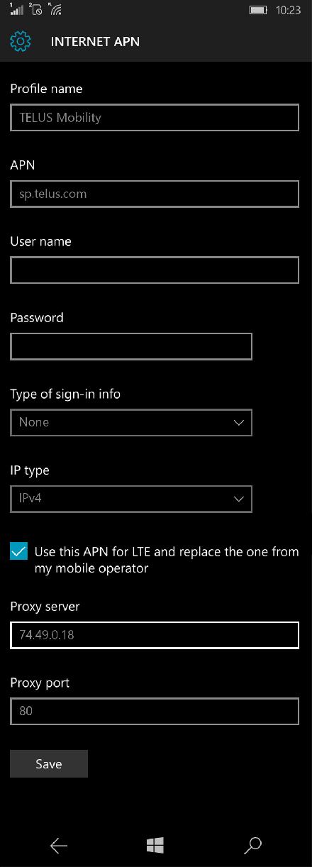 TELUS Mobility  APN settings for Windows 10 screenshot