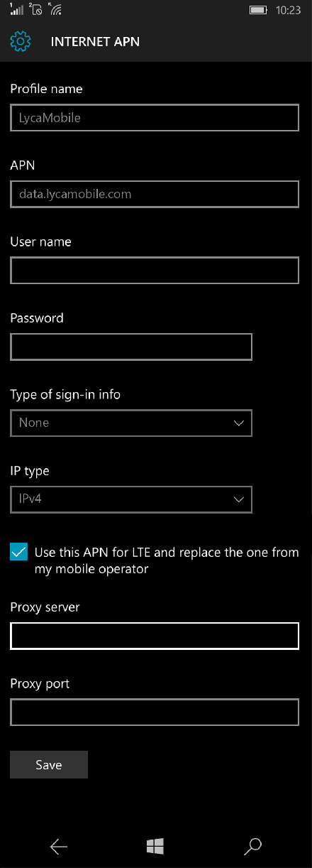 LycaMobile  APN settings for Windows 10 screenshot