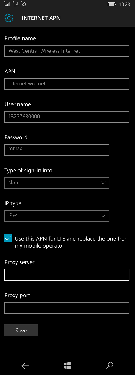 West Central Wireless Internet APN settings for Windows 10 screenshot