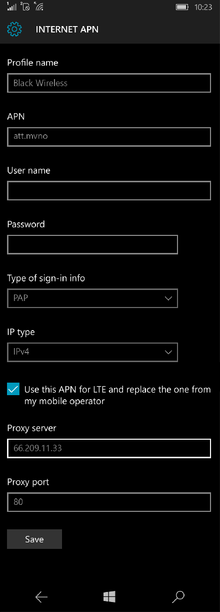 Black Wireless  APN settings for Windows 10 screenshot