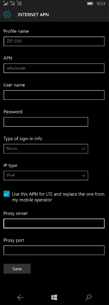 ZIP SIM  APN settings for Windows 10 screenshot