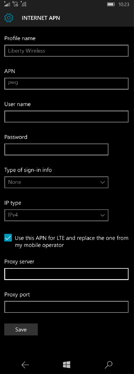 Liberty Wireless  APN settings for Windows 10 screenshot
