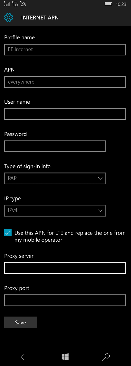 EE Internet APN settings for Windows 10 screenshot