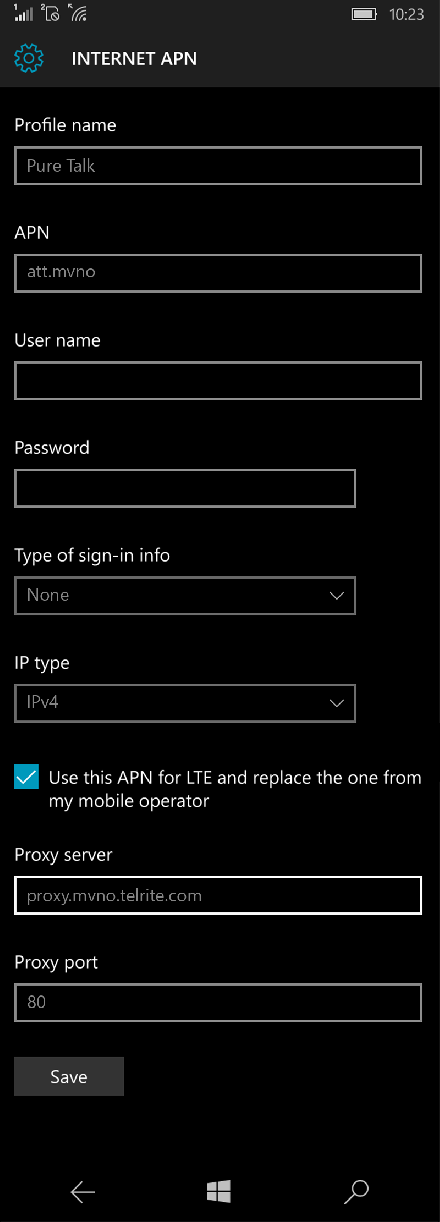 Pure Talk  APN settings for Windows 10 screenshot