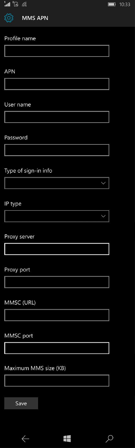 Virgin Mobile MMS APN settings for Windows 10 screenshot