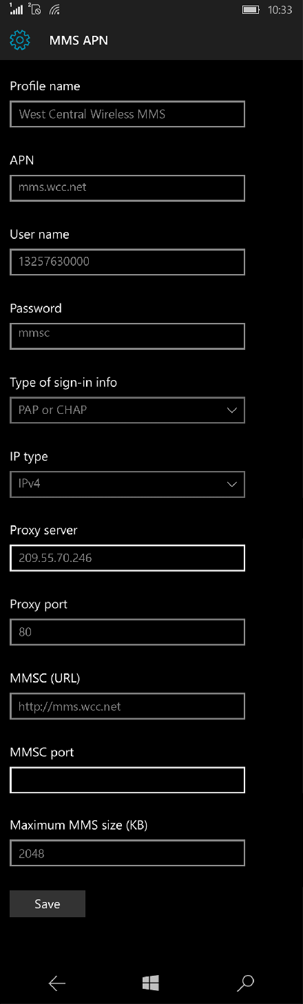 West Central Wireless MMS APN settings for Windows 10 screenshot