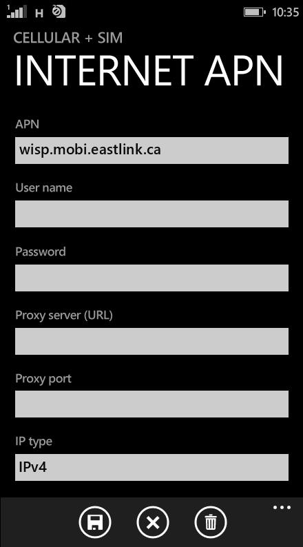 Eastlink Internet APN settings for Windows Phone 8.1 screenshot