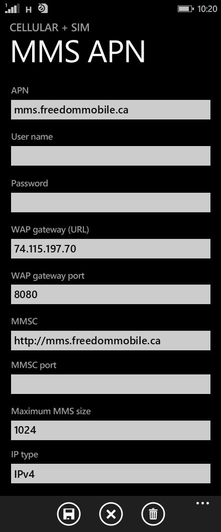 Freedom Mobile  APN settings for Windows Phone 8.1 screenshot