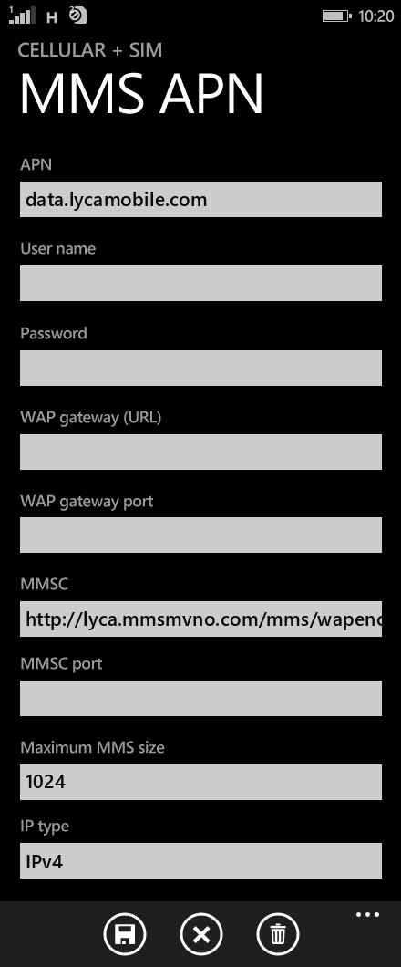 LycaMobile  APN settings for Windows Phone 8.1 screenshot