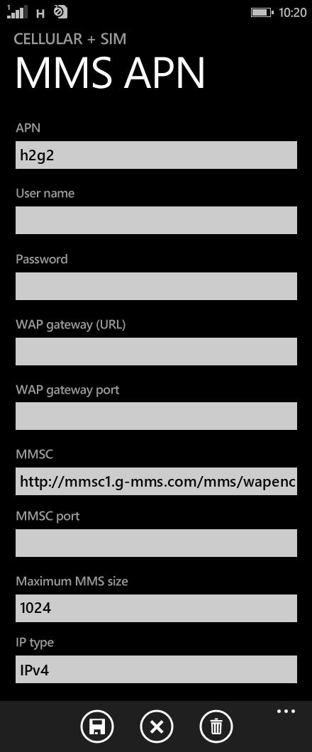 Project Fi  APN settings for Windows Phone 8.1 screenshot