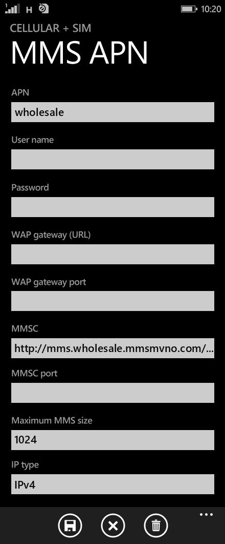 ZIP SIM  APN settings for Windows Phone 8.1 screenshot