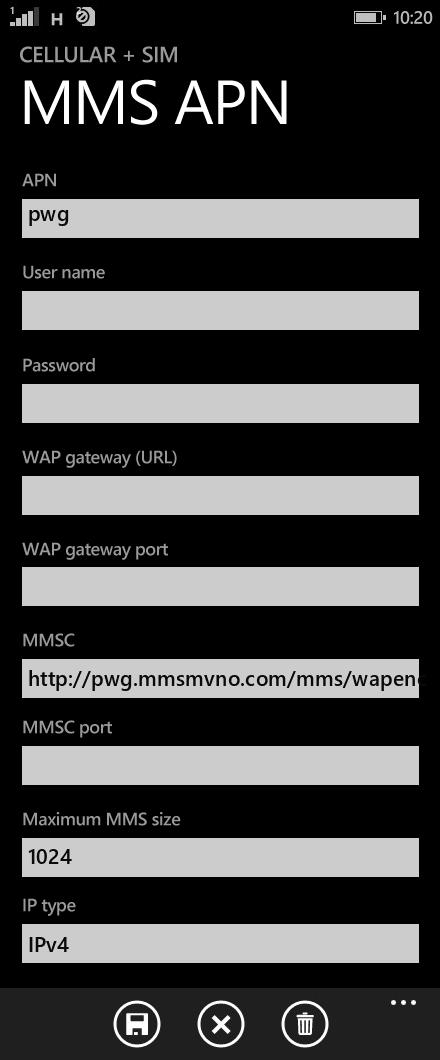 Liberty Wireless  APN settings for Windows Phone 8.1 screenshot